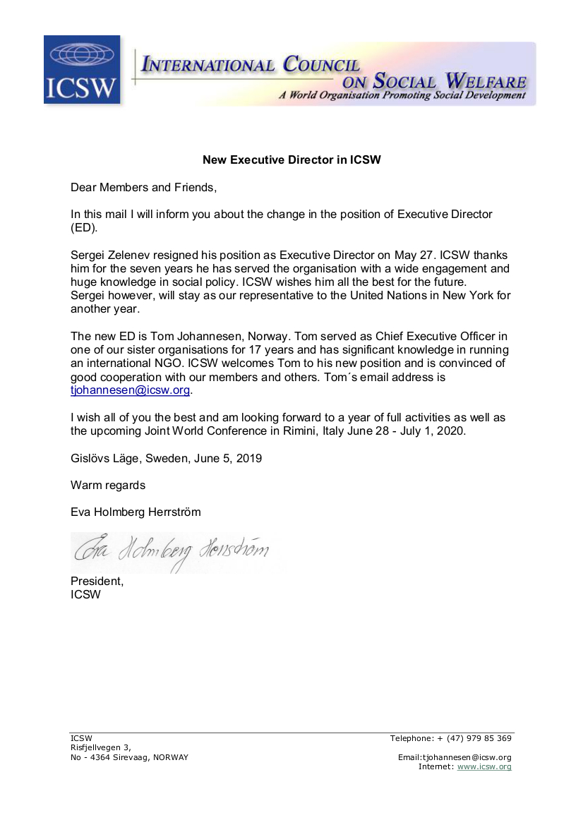 Letter to members New Executive Director
